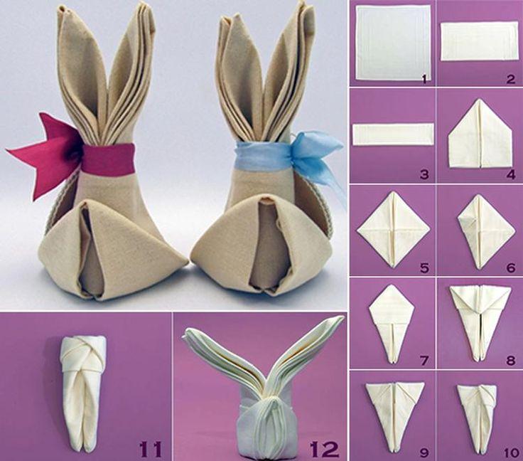 Sehe dir das Foto von schnikerike mit dem Titel Servietten-Hase mit Schleife: hübsche Tischdeko zu Ostern und andere inspirierende Bilder auf Spaaz.de an.