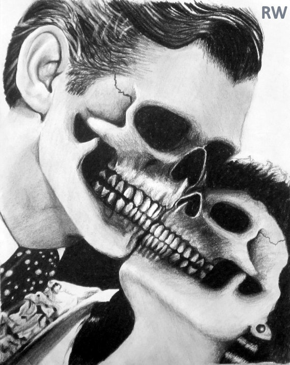 Skeleton Gone With the Wind Charcoal Drawing by WinterSketching