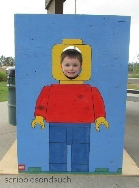 Create a cute photo op with this cut-out lego guy.  Paint on an old piece of plywood or use a large piece of posterboard.  Perfection isn't the point here, just do you best to paint a silly lego guy body and lthen sit back and be entertained by the silly faces kids make for their photo!