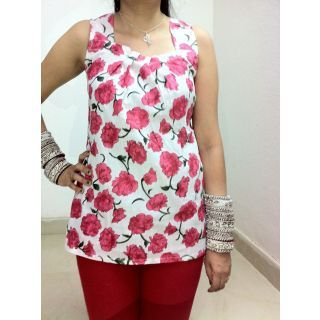 Floral Print White Tunics + 20% off By Gossip Fashion @ shopclues
