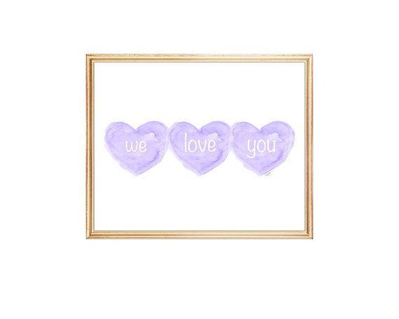 We Love You, Gift for Baby Girl, Girl Triplets Nursery Art, Triplets Shower Gift, Purple Baby Nursery, Purple Triplets Gift, Three Sisters