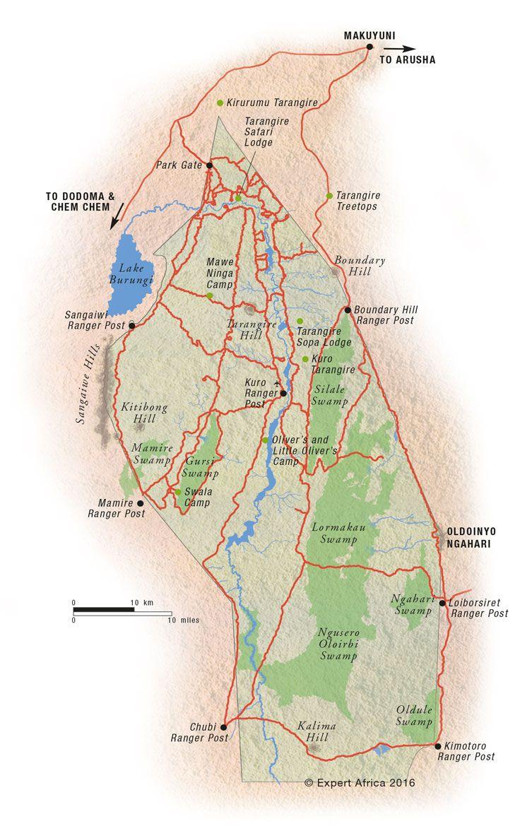 Africa Map Horn Of Africa%0A Map of Tarangire National Park   Tanzania    c  Expert Africa