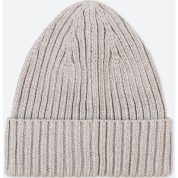UNIQLO Rib Beanie ($9.90) ❤ liked on Polyvore featuring men's fashion, men's accessories, men's hats, light gray, mens caps and hats, mens beanie hats, mens summer hats and mens summer beanie hats