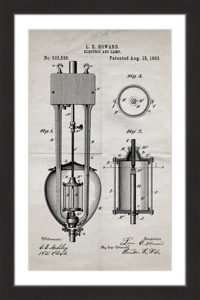389 best blueprint art images on pinterest blueprint art canvas arc lamp 2 1893 old paper malvernweather Gallery