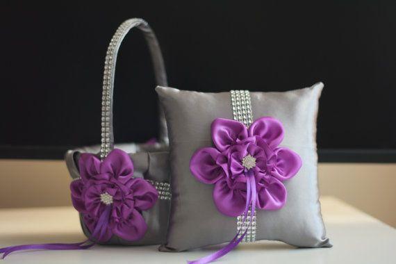 Purple Flower Girl Basket \ Gray Ring Bearer Pillow \ Purple Gray Wedding Basket \ Gray wedding pillow basket set \ Purple Wedding bearer