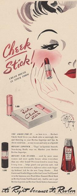 Revlon Cheek Stick, ad 1940