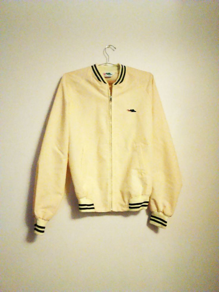 Men's Vintage Sporty Lightweight Preppy Coat / Pale Yellow / Trendy / Golf Jacket / Sporty / Size M Tall by JulesCristenVintage on Etsy