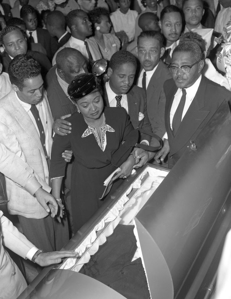 Emmett Till's mother and other mourners