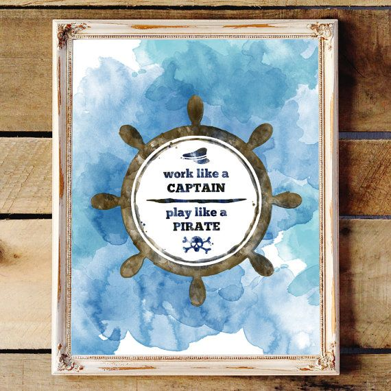 Pirate Poster  Quote Art  Work Hard Quotes  by nutsyandme on Etsy
