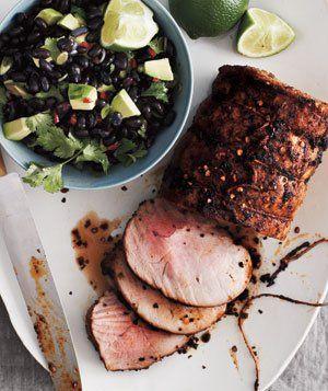 Chipotle Pork Loin With Black Bean Salad Recipe: Beans Salad Recipes, Pork Loin, Dinners Recipes, Food, Black Beans Salad, Bean Salad Recipes, Black Bean Salads, Chipotle Pork, Real Simple