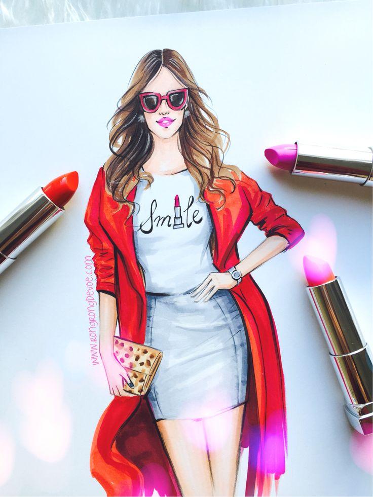Fashion illustration of fashion blogger by Houston Fashion illustrator Rongrong DeVoe. Www. Rongrongdevoe.com