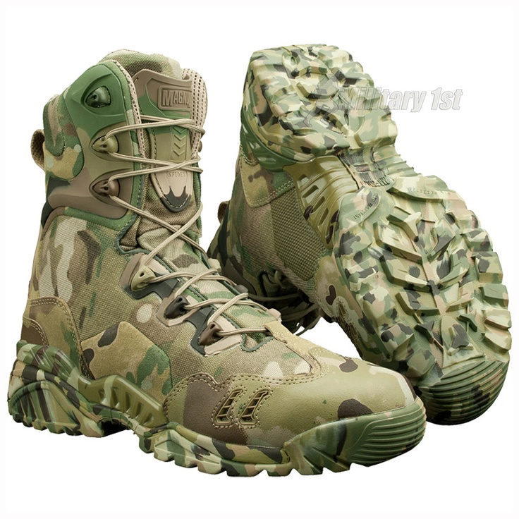 Spider 8.1 Desert by Magnum in MultiCam Camo  (£149.99).  Perfect boots for all kinds of outdoor actives such as hunting, paintballing, hiking or survival, and each one who needs military quality lightweight footwear designed for extreme condition.