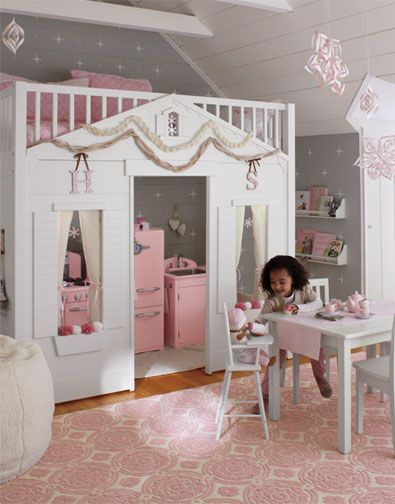 Love this idea!  A loft bed designed to look like a storybook cottage.  Lots of play space!!!