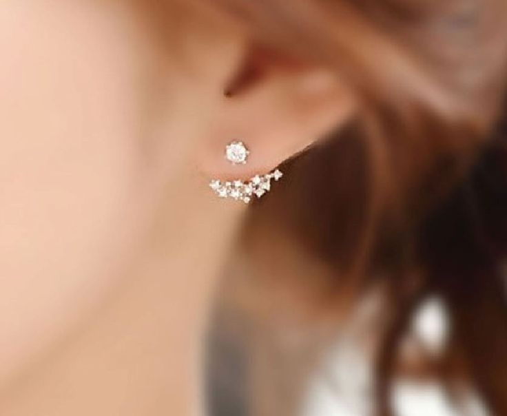Chic Gemstone Ear Jackets / Choose color Gold Silver Everyday earrings Clusters by seeflower on Etsy https://www.etsy.com/listing/254776189/chic-gemstone-ear-jackets-choose-color