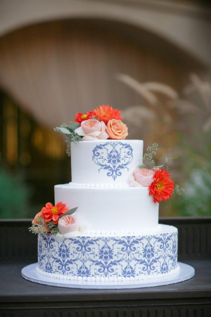 Spanish inspired wedding cake // photo by BrittRene Photo, see more: http://theeverylastdetail.com/cobalt-blue-spanish-inspired-wedding/