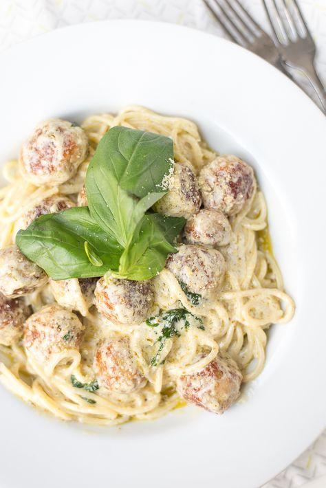 Spaghetti met kip-pestoballetjes - Ohmyfoodness !
