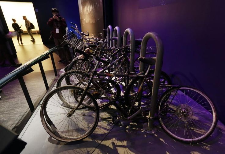 A salvaged bicycle rack that was located on the northern edge of the World Trade Center site.