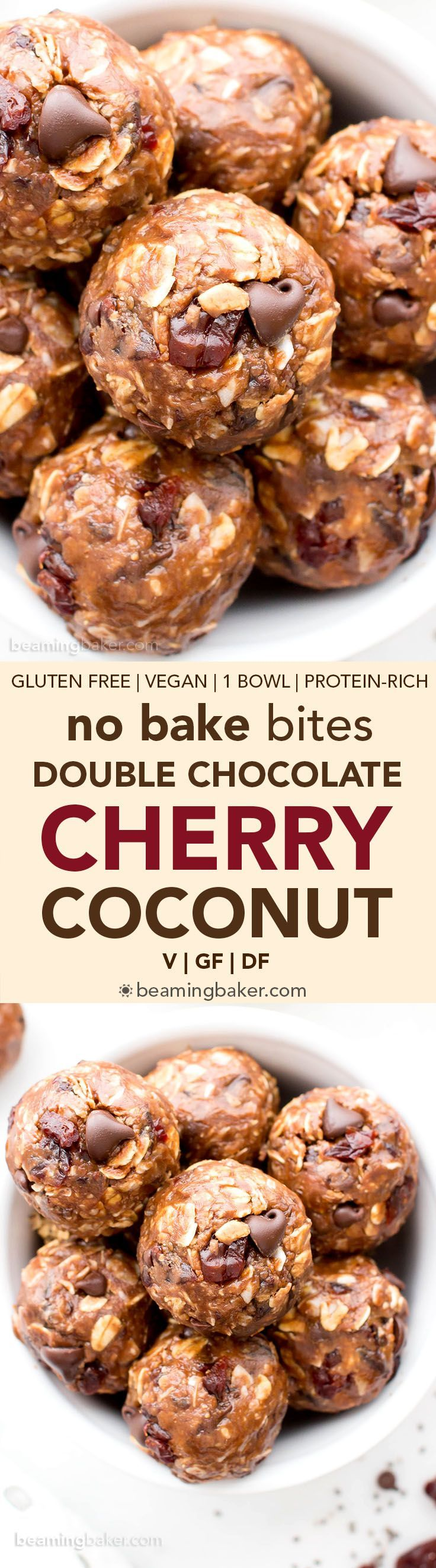 No Bake Double Chocolate Cherry Coconut Energy Bites (V, GF): a one bowl recipe for deliciously satisfying, protein-rich energy bites that taste like cherry chocolate pie. #Vegan #GlutenFree #DairyFree #ProteinPacked | BeamingBaker.com