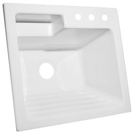 CorStone White Acrylic Self Rimming Laundry Sink 145