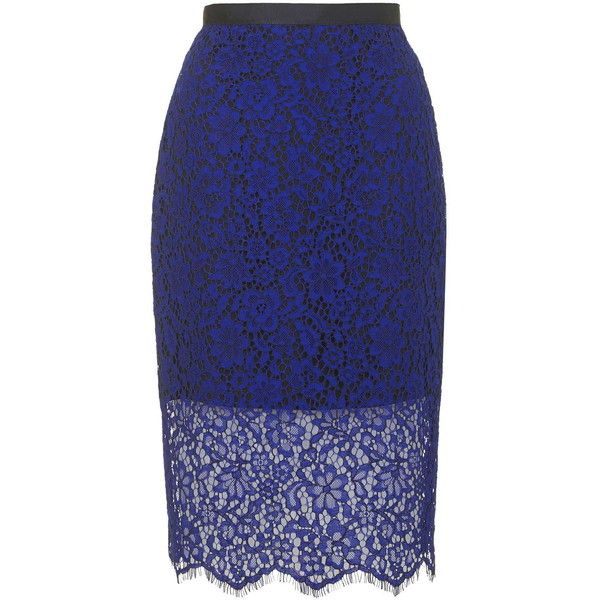 TOPSHOP Scallop Lace Pencil Skirt (3,825 THB) ❤ liked on Polyvore featuring skirts, bottoms, jupes, cobalt, knee length pencil skirt, topshop, blue pencil skirt, scalloped skirt and slit pencil skirt