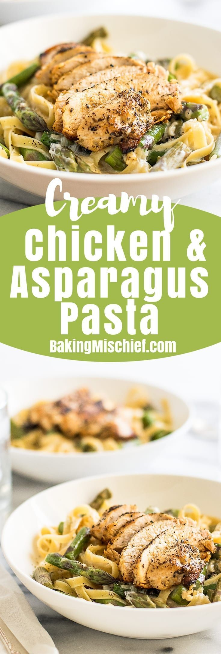 This easy Creamy Chicken and Asparagus Pasta is quick and simple to make and perfect for nights when you need a cheesy pasta fix! (healthy pasta recipes for two)