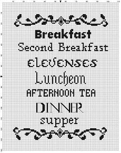 A hobbit menu for your personal Bag-End. Modern cross stitch pattern is designed on 14 count Aida. It will run about 8x10 and will look awesome