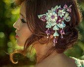 Pettine di Phoebe Ivory & copricapo nuziale Glicine alternativa unica seta fiori Swarovski cristalli gioielli per capelli