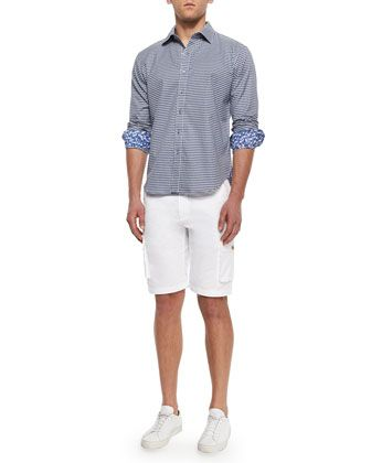 Globetrotter Cargo Shorts & Motorboat Long-Sleeve Check Sport Shirt by Robert Graham at Neiman Marcus.