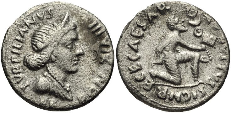 A denarius struck in 19 BC during the reign of Augustus, with the goddess Feronia depicted on the obverse, and on the reverse a Parthian man kneeling in submission while offering the Roman military standards taken at the Battle of Carrhae[112]