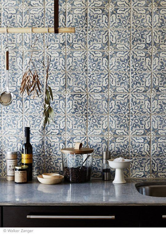 Pretty tiles - soft blue/grey hue, nice splashback in a pared back kitchen!