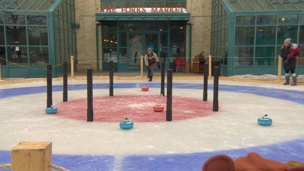 Combining crokinole and curling at The Forks in Winnipeg