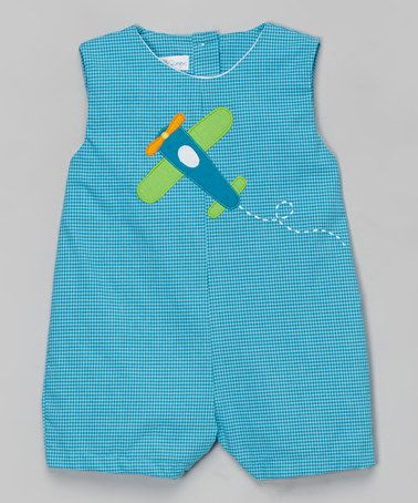 love this blue plaid airplane shortalls infant by petit pomme on
