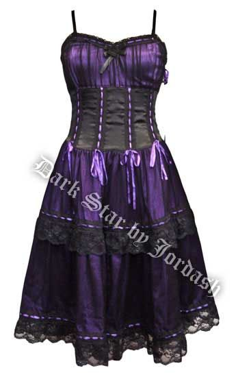Dark Star Purple Black Satin Lace Burlesque Dress. Where was this when I went to prom? Lol. Cute cute.