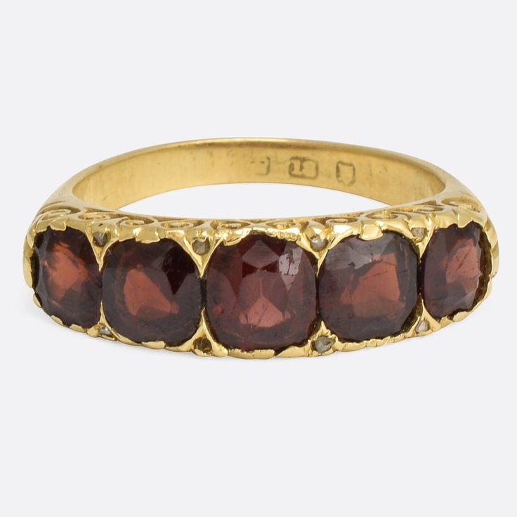 Mid Victorian Garnet & Diamond 5-Stone Ring                      – Butter Lane Antiques