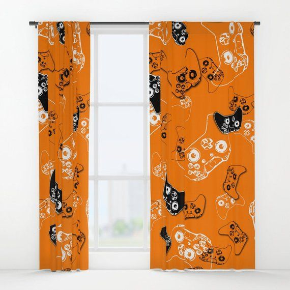 Orange Gamer Curtains, Gamer Room Window Curtain, Boys Curtains, Gamer Gifts, Video Game Decor, Gami –  – #GamerRoom|DIY