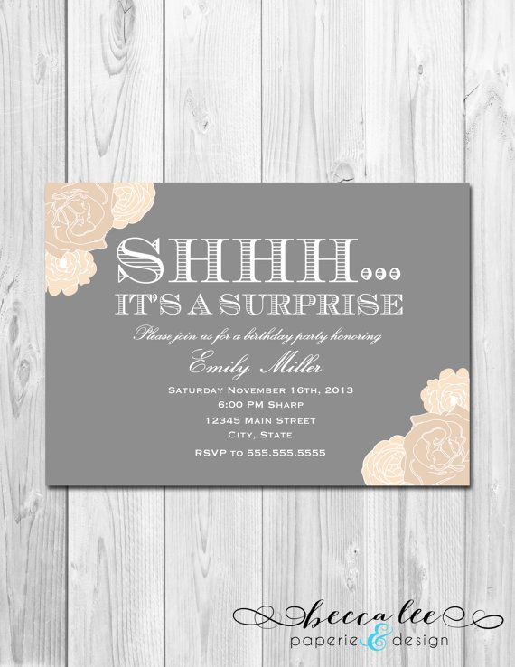 Surprise Party Invitation - Tan and Grey Floral - DIY - Printable