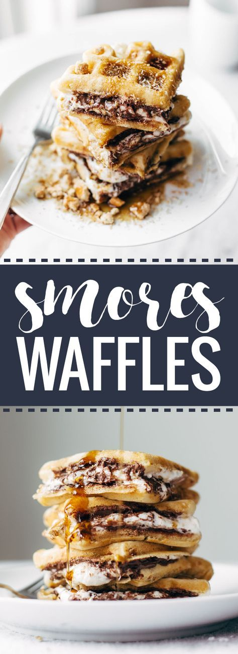 Smores Waffles with Nutella and Toasted Coconut - HELLO LOVER. honey-graham-tasting waffles smeared with nutella and melted marshmallows, topped with toasted coconut! brunch dreams coming true. | http://pinchofyum.com