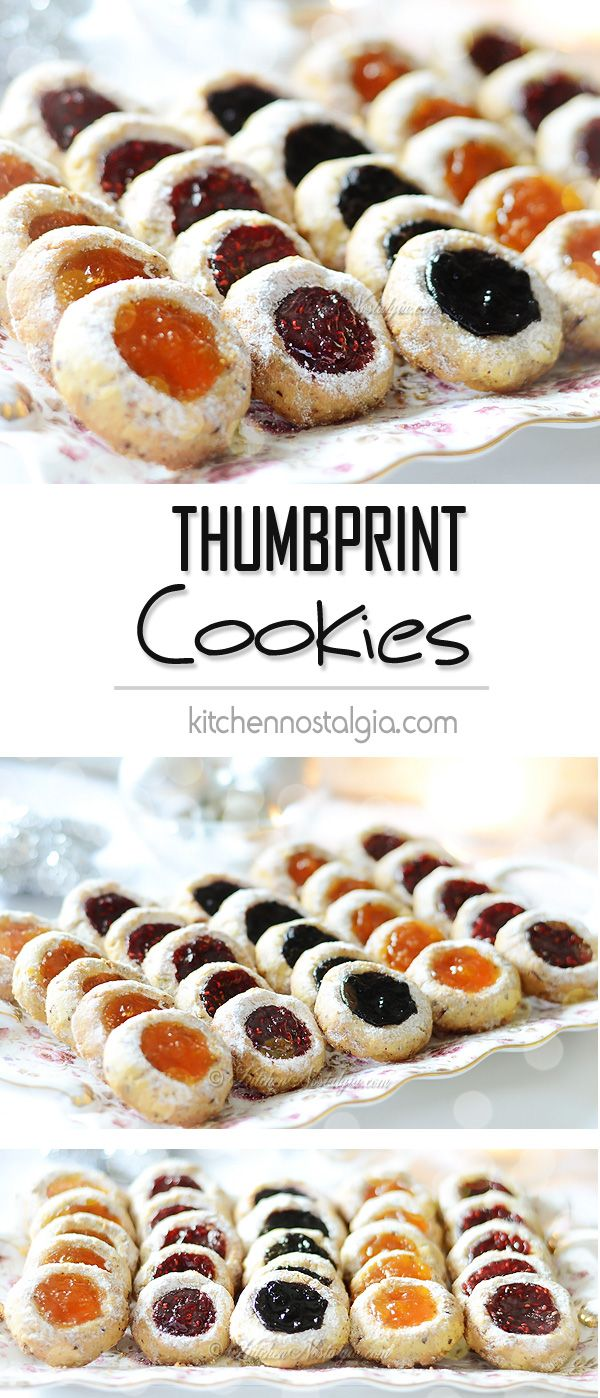 Thumbprint Cookies with Raspberry, Blueberry and Apricot Jam - delicate hazelnut buttery cookies filled with various fruit jams. True taste of Christmas!
