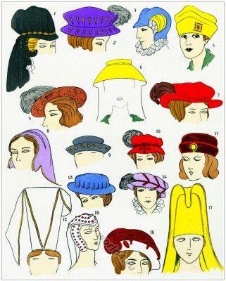Renaissance hat fashion. Les Modes de la Renaissance.