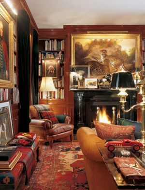 Decorating fireplaces - Wood fireplace - ralph-lauren-library.jpg