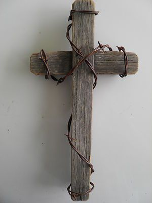 """$15 on ebay. 12"""" Rustic Western Barnwood Cross with Rusty Barb Wire Wrapped ~ Religious"""