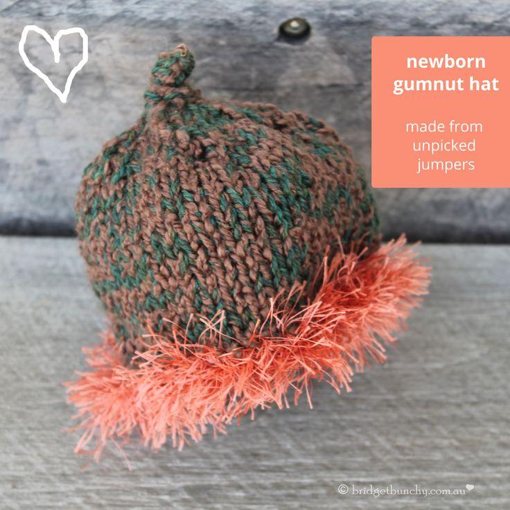 Newborn gumnut baby hat - modelled off the Australian Woolly Butt by Autumn (Bridget Bunchy Recycled Gallery)
