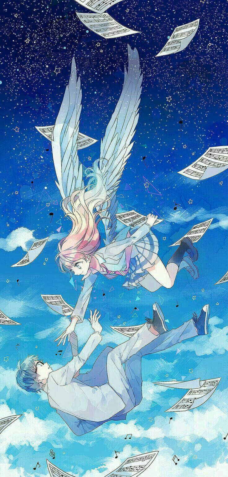 Kaori Kousei Angel Wings Music Sheets Falling Starry Sky Night Your Lie In April Anime Artwork Anime Art Anime