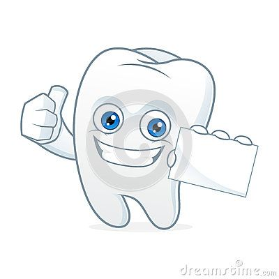 Tooth cartoon mascot hold business card