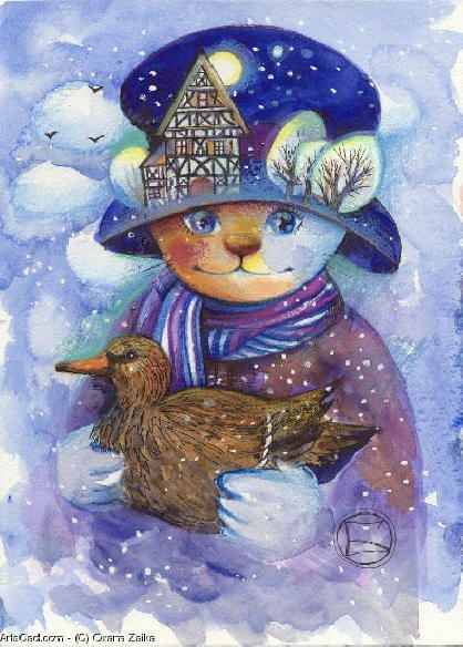 Winter cat paintings. Oksana Zaika - Winter Cat