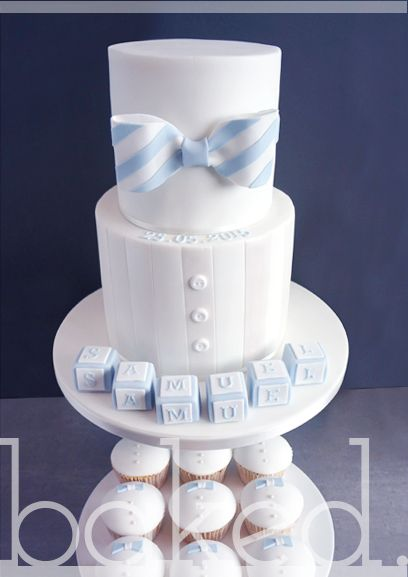 Baby Boy Bow Tie Christening Cake