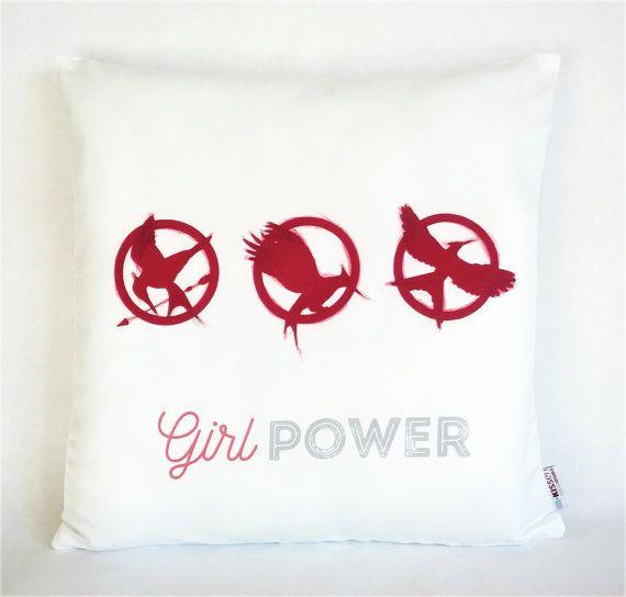 Girl Power Katniss Pillow, Pillowcase, Hunger Games pillow, Sofa Pillow, Feminist Cushion, Feminist Decor, Pillow cover, Feminist gift