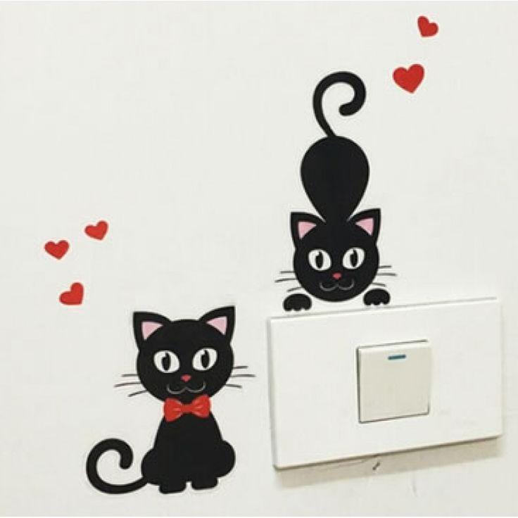 Szerelmes cicák villanykapcsoló falmatrica