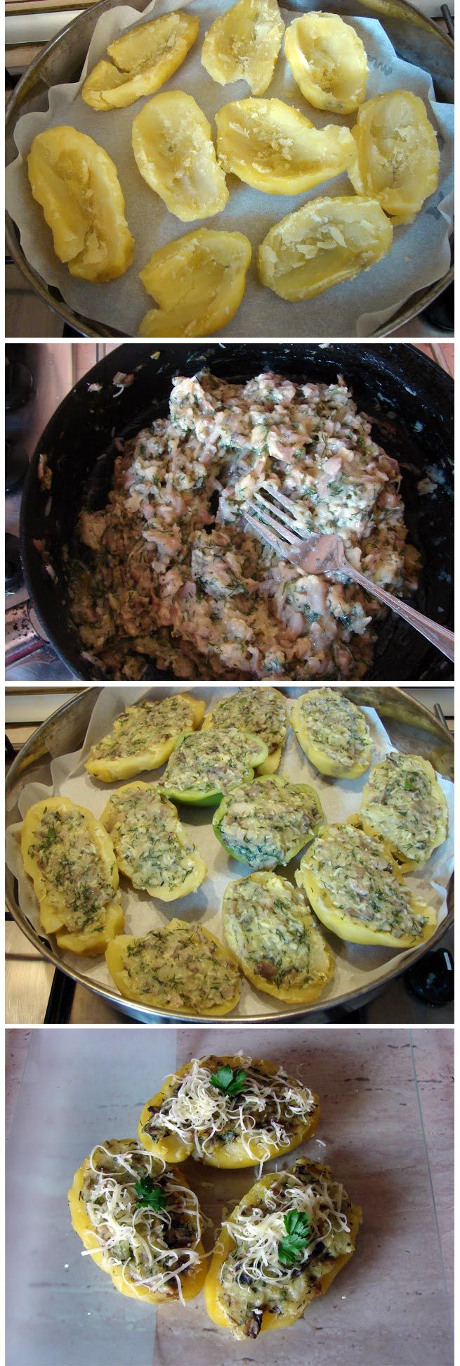 Potatoes stuffed with mushrooms and cheese - Top 10 Food Recipes