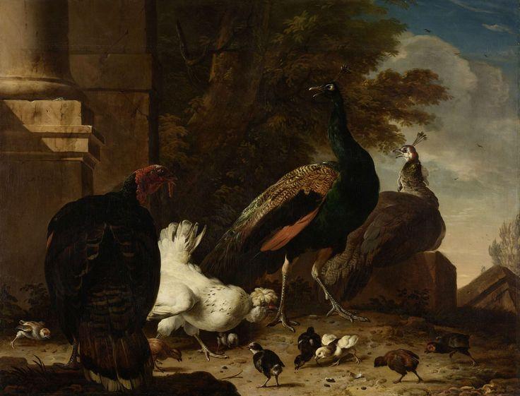 Een hen met pauwen en een kalkoen, Melchior d' Hondecoeter, ca. 1680